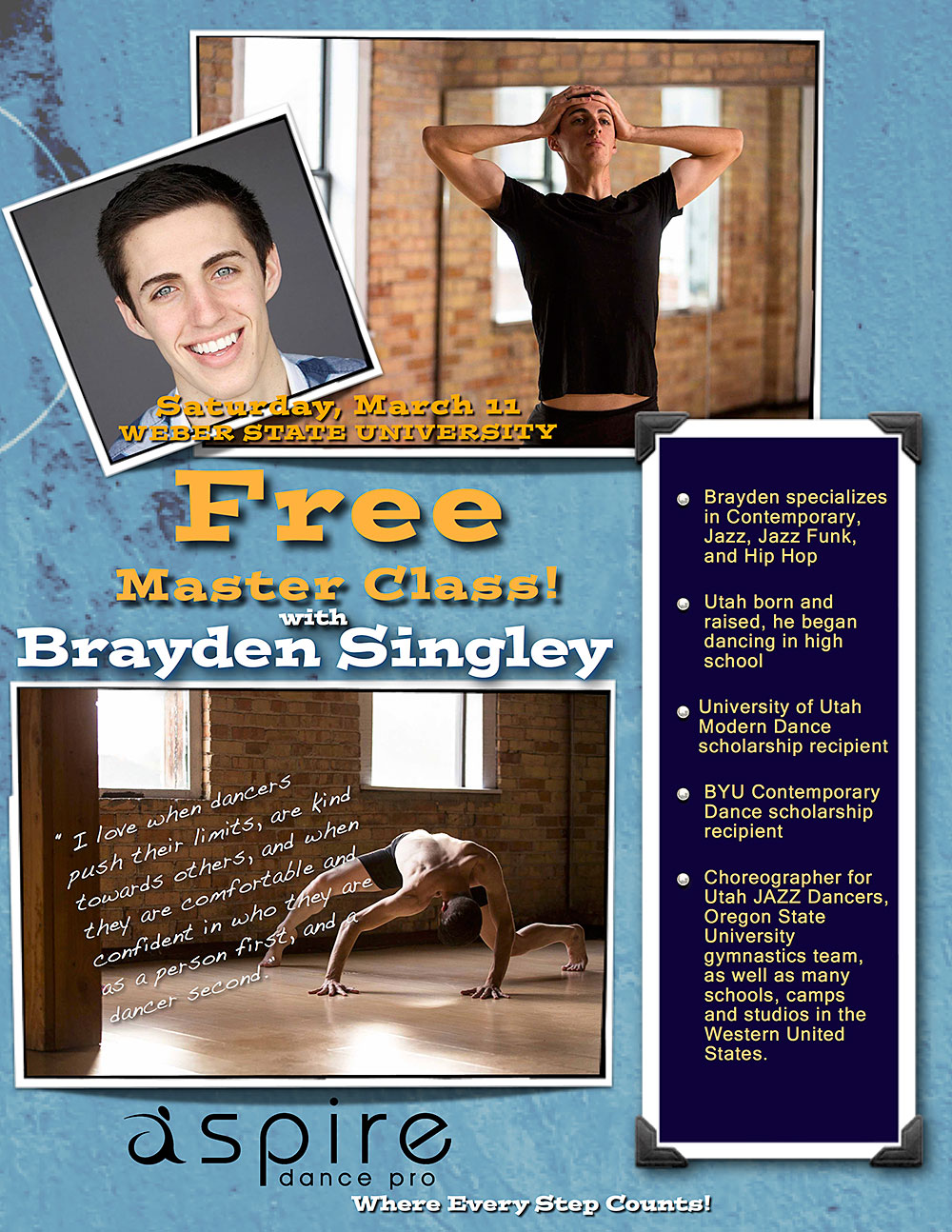 Brayden Singley - Aspire Dance Pro Competitions Masterclass Instructor